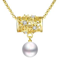 Vienna Jewelry Gold Plated Circular Rolling Pin Cultured Pearl Drop Necklace