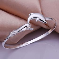 Sterling Silver Duo-Dolphin Bangle - Thumbnail 0