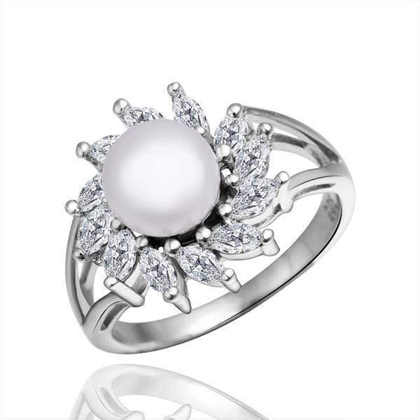 Vienna Jewelry White Gold Plated Cultured Pearl Blossoming Spiral Ring