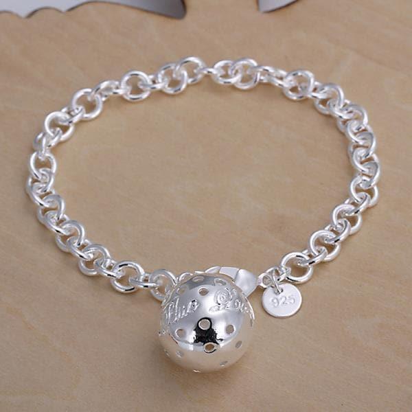 Vienna Jewelry Sterling Silver Large Pav'e Ball Center Bracelet