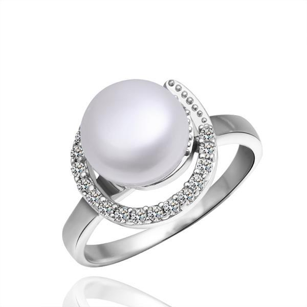 Vienna Jewelry White Gold Plated Hollow Pearl Ring