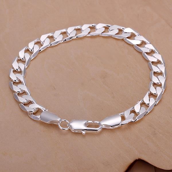 Vienna Jewelry Sterling Silver Curved Sleek Lined Bracelet