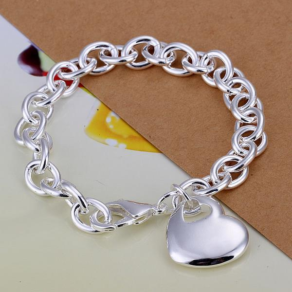 Vienna Jewelry Sterling Silver Petite Heart Shaped Emblem Bracelet - Thumbnail 0