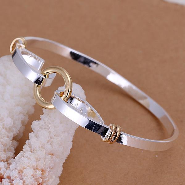 Vienna Jewelry Sterling Silver Circular Closure Petite Bangle