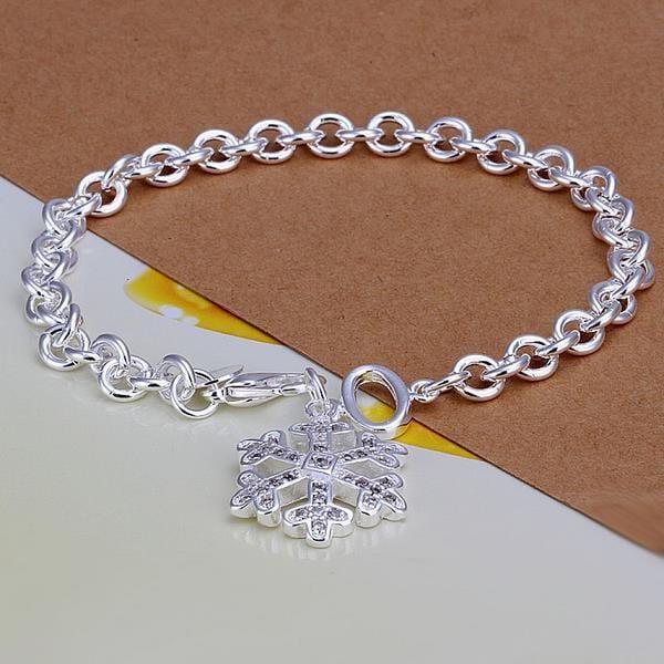 Vienna Jewelry Sterling Silver Petite Snowflake Emblem Bracelet