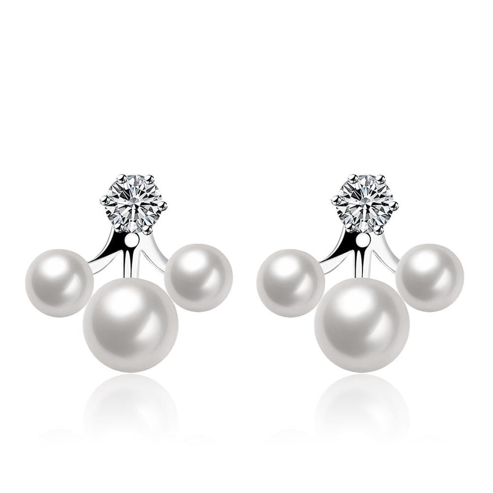 Vienna Jewelry Cultured Pearl Trio-Orchid Earrings