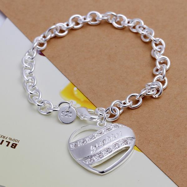 Vienna Jewelry Sterling Silver Multi-Linked Heart Shaped Bracelet
