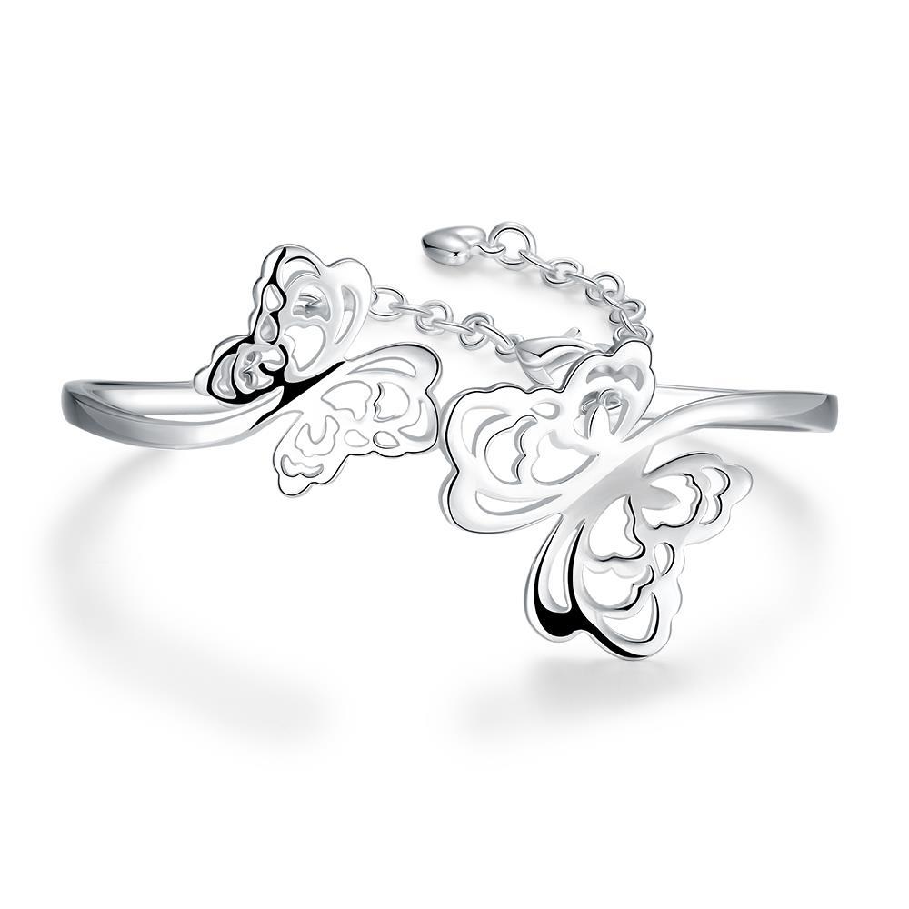 Vienna Jewelry Sterling Silver Curved Hollow Butterfly Bangle
