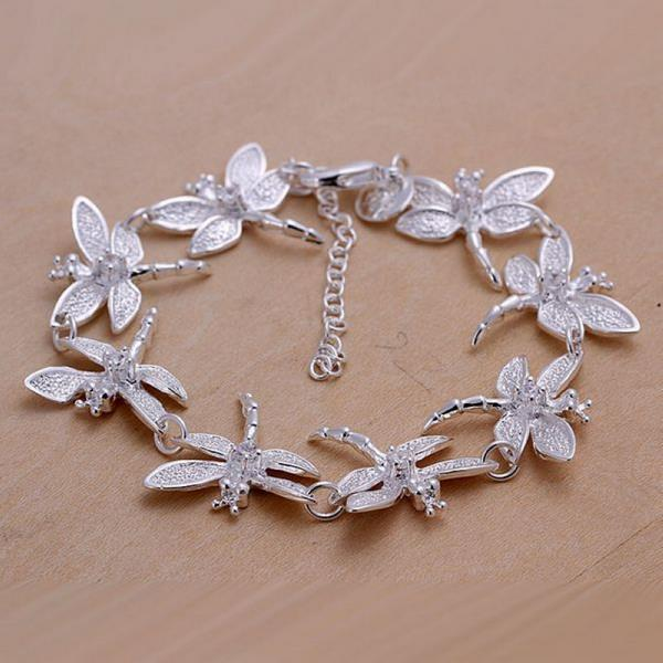 Vienna Jewelry Sterling Silver Multi-Butterfly Surronding Bracelet