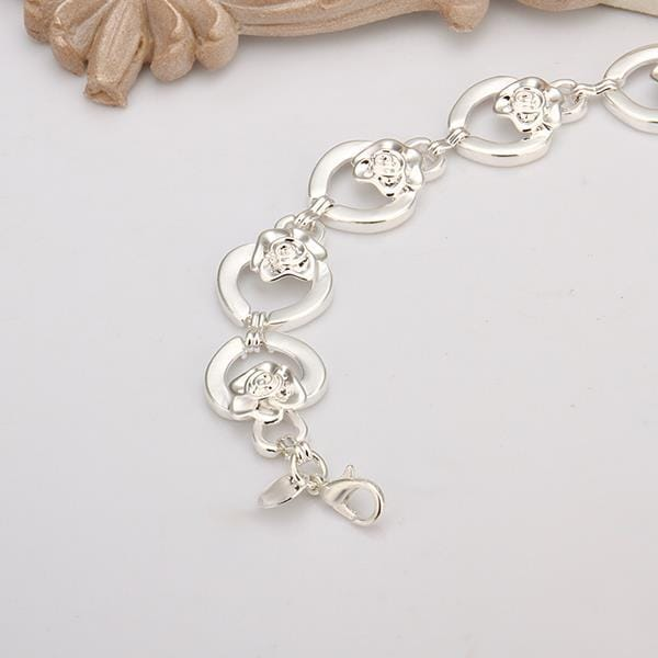 Vienna Jewelry Sterling Silver Circular Hollow Heart Connected Bracelet