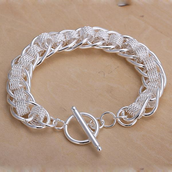 Vienna Jewelry Sterling Silver Interlocking Chain & Mesh Bracelet