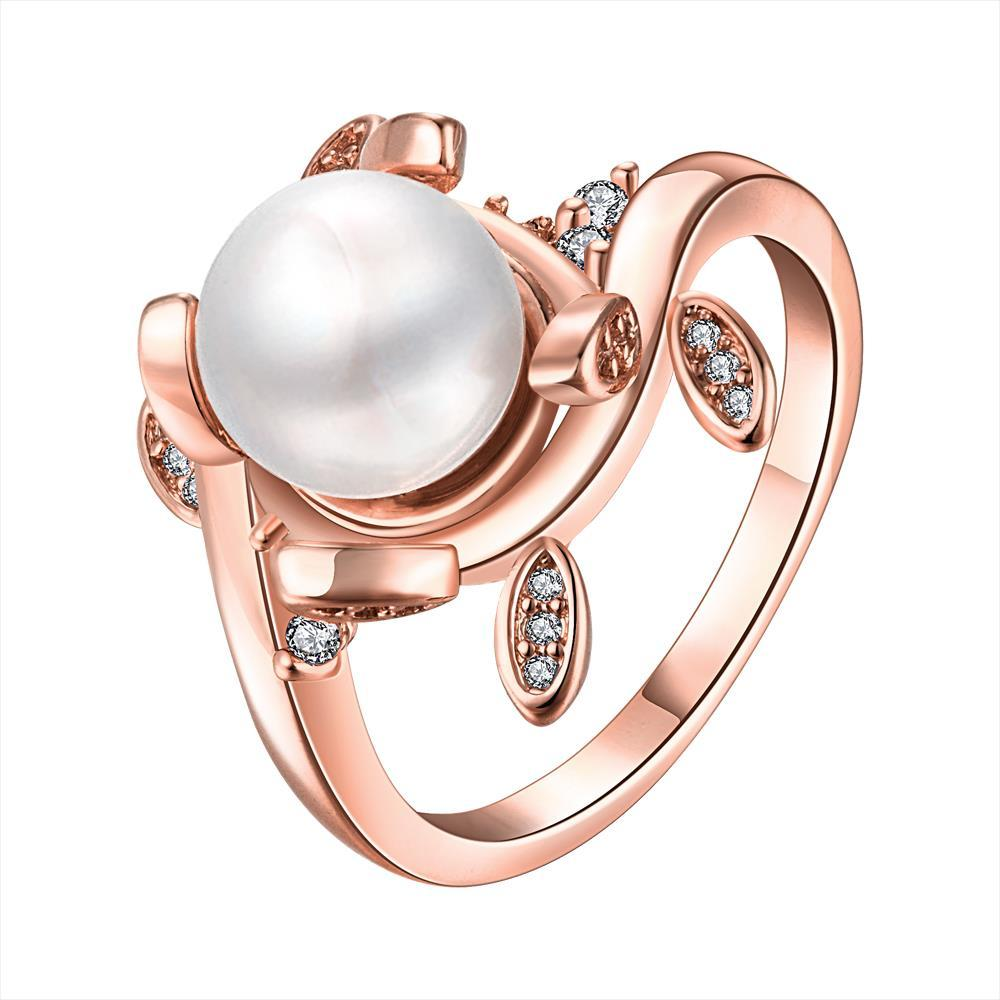 Vienna Jewelry Rose Gold Plated Cultured Pearl Leaf Inserts Ring