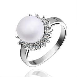 Vienna Jewelry White Gold Plated Cultured Pearl Clover Ring - Thumbnail 0