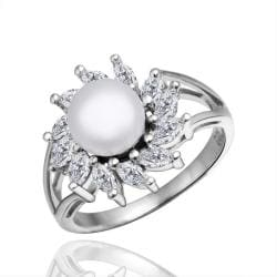 Vienna Jewelry White Gold Plated Cultured Pearl Blossoming Spiral Ring - Thumbnail 0