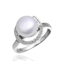 Vienna Jewelry White Gold Plated Hollow Pearl Ring - Thumbnail 0