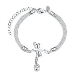 Vienna Jewelry Sterling Silver Dangling Floral Bracelet - Thumbnail 0