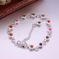 Vienna Jewelry Sterling Silver Multi Rainbow Circular Gems Bracelet - Thumbnail 0
