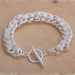 Vienna Jewelry Sterling Silver Interlocking Chain & Mesh Bracelet - Thumbnail 0
