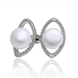 Vienna Jewelry Circular Cultured Pearl Crystal Covering Earrings - Thumbnail 0
