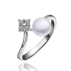 Vienna Jewelry White Gold Plated Cultured Pearl & Jewel Open Ring - Thumbnail 0