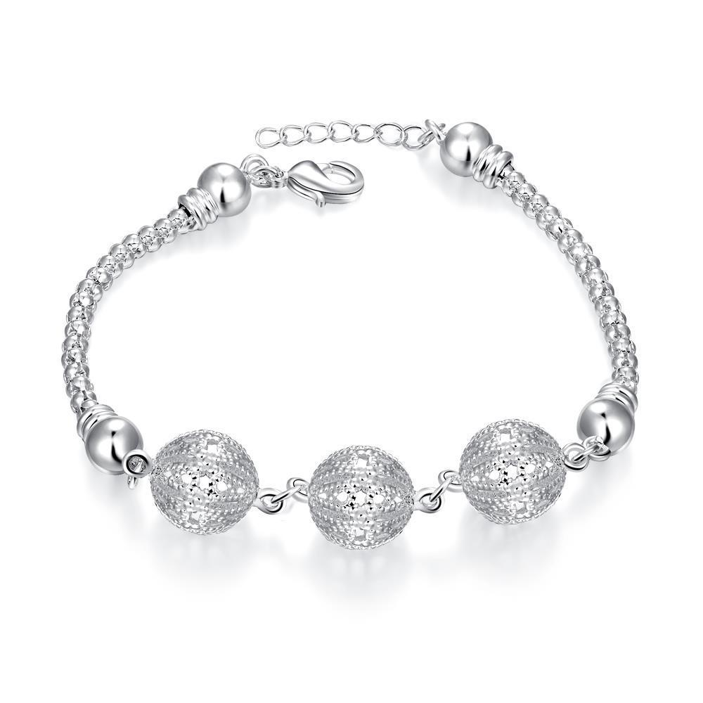 Vienna Jewelry Sterling Silver Trio-Ball Wiring Bracelet