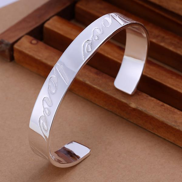 Vienna Jewelry Sterling Silver Love Inprint Open Bangle - Thumbnail 0