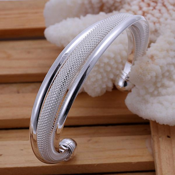 Sterling Silver Duo-Toned Mesh Bangle