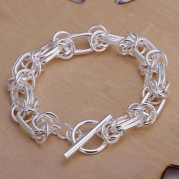 Vienna Jewelry Sterling Silver Petite Clasp Closure Bracelet