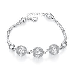 Vienna Jewelry Sterling Silver Trio-Ball Wiring Bracelet - Thumbnail 0