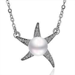 Vienna Jewelry Cultured Pearl Star Shaped Necklace