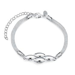 Vienna Jewelry Sterling Silver Multi Quad-Orchid Bracelet - Thumbnail 0
