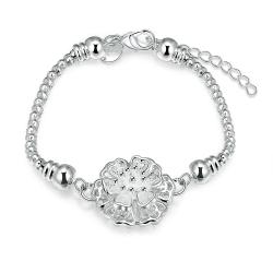 Vienna Jewelry Sterling Silver Blossoming Crystal Ball Bracelet - Thumbnail 0