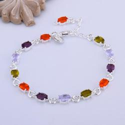 Vienna Jewelry Sterling Silver Multi Rainbow Gems Bracelet - Thumbnail 0