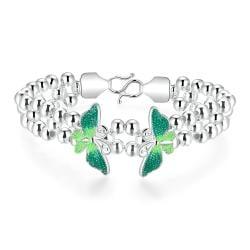 Vienna Jewelry Sterling Silver Emerald Wings Bracelet - Thumbnail 0