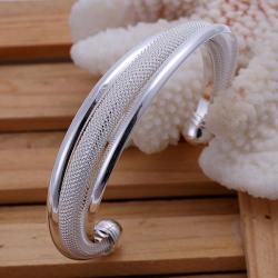 Sterling Silver Duo-Toned Mesh Bangle - Thumbnail 0