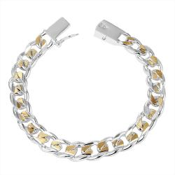 Vienna Jewelry Sterling Silver Gold Coloring Modern Sleek Bracelet - Thumbnail 0