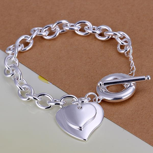 Vienna Jewelry Sterling Silver Duo Heart Shaped Clasp Bracelet