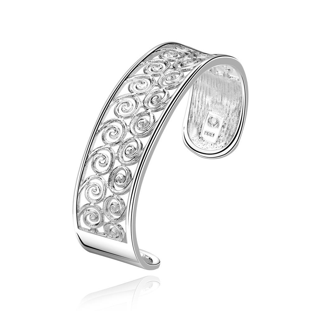Vienna Jewelry Sterling Silver Laser Cut Circular Inspied Bangle
