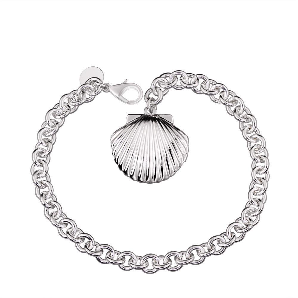 Vienna Jewelry Sterling Silver Petite Sea Shell Emblem Bracelet