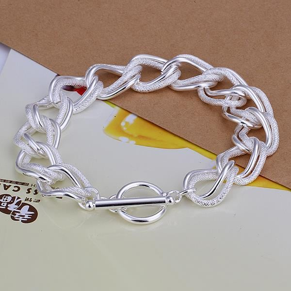 Vienna Jewelry Sterling Silver Thick Cut Intertwined Clasp Closure Bracelet