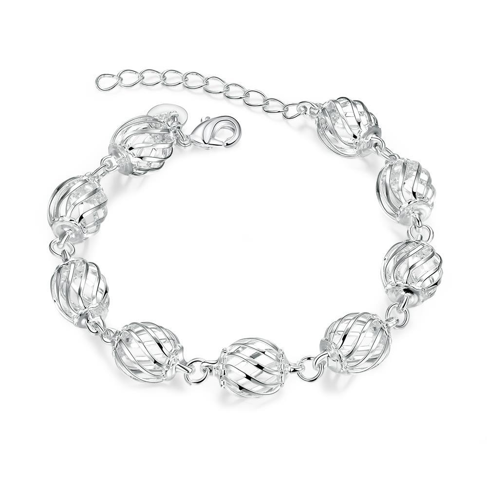 Vienna Jewelry Sterling Silver Laser Cut Disco Ball Connecting Bracelet