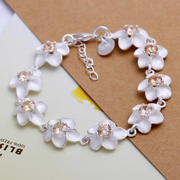 Vienna Jewelry Sterling Silver Multi-Ivory Floral Petals Bracelet