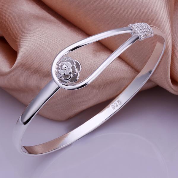 Vienna Jewelry Sterling Silver Crystal Loop Bangle