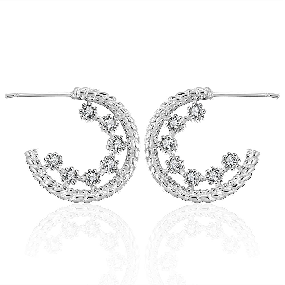 Vienna Jewelry Sterling Silver Cinderella Inspired Crystal Hoops