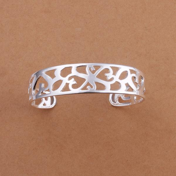 Vienna Jewelry Sterling Silver Laser Cut Orchid Open Bangle