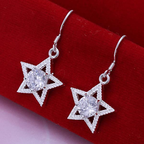 Vienna Jewelry Sterling Silver Star Shape with Crystal Inlay Earring