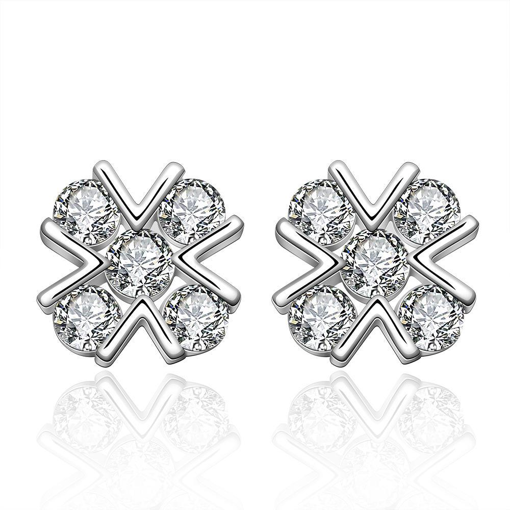 Vienna Jewelry Sterling Silver X Marks The Spot Covered with Stones Earring