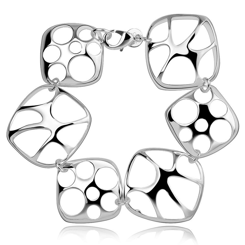 Vienna Jewelry Sterling Silver Laser Cut Abstract Connecting Bracelet