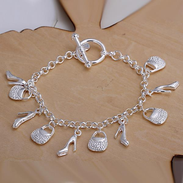 Vienna Jewelry Sterling Silver Multi-Charms Classic Bracelet