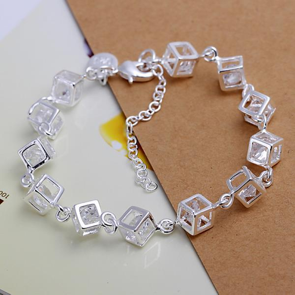 Vienna Jewelry Sterling Silver Multi Cubed Bracelet